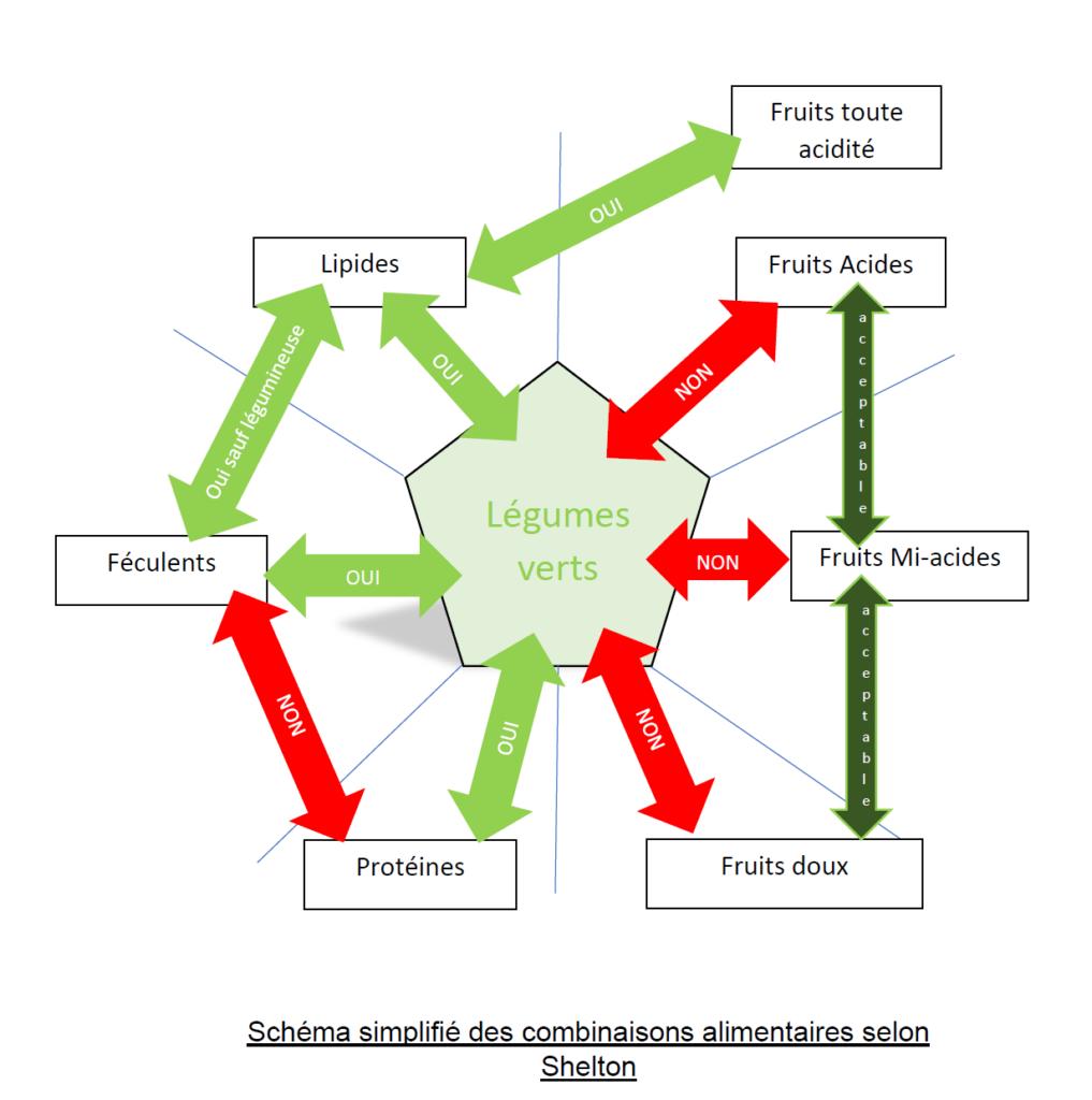 Schéma simplifié des combinaisons alimentaire selon Shelton