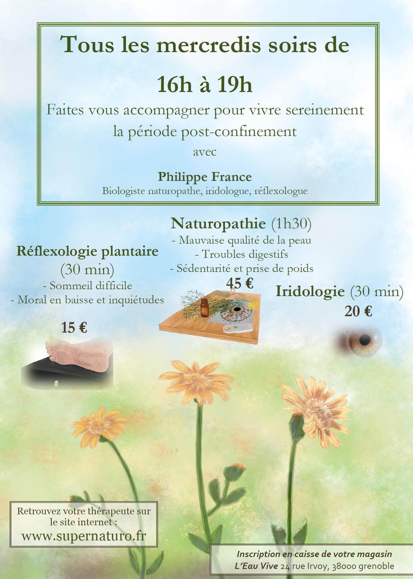 Séance de naturopathie, réflexologie plantaire ou d'iridologie flash à l'Eau Vive de Grenoble