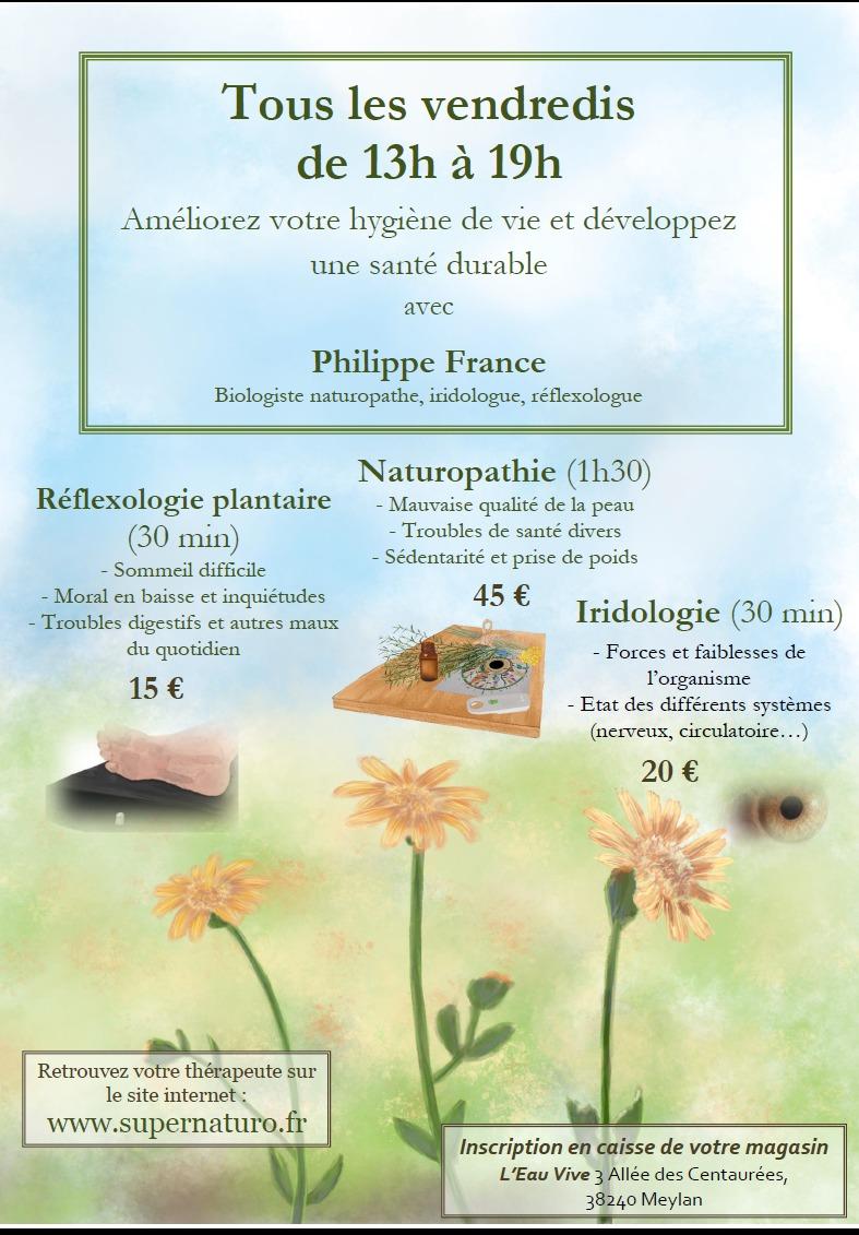 Séance de naturopathie, iridologie ou réflexologie plantaire à l'Eau Vive Meylan
